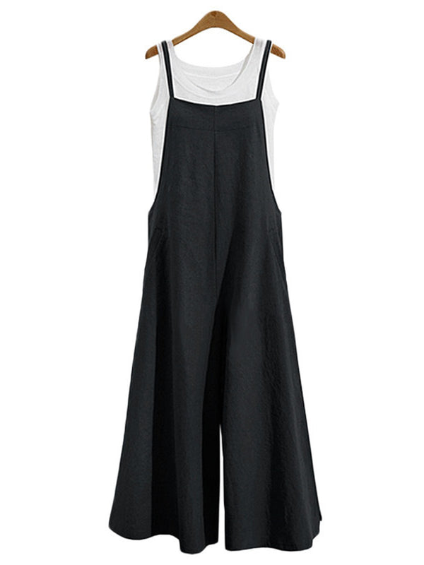 Solid Casual Spaghetti Linen Square neck Pockets Jumpsuit