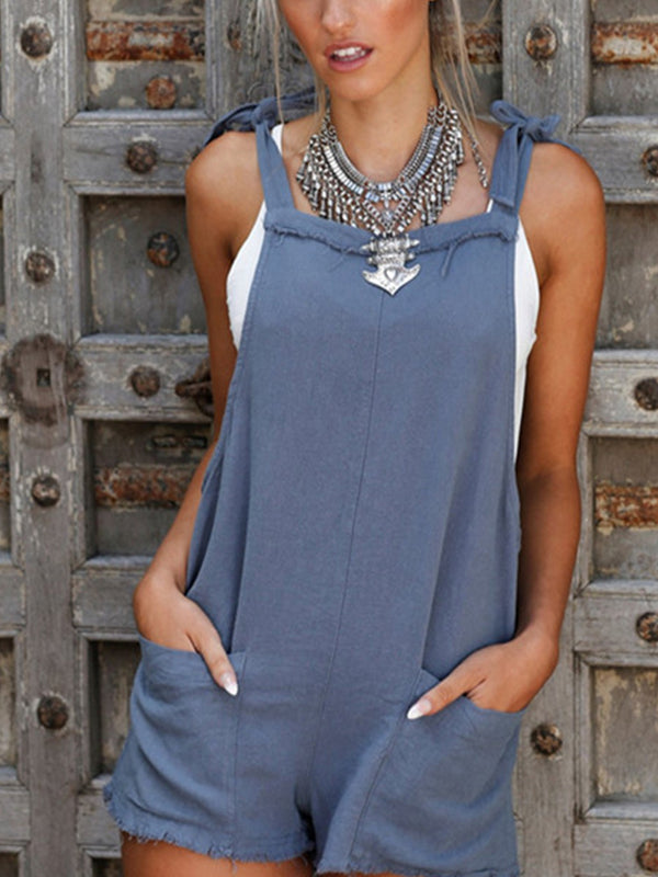 Pockets Round Neck Solid Sleeveless Jumpsuits