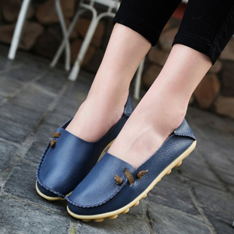Large Size Split Leather Non Slip Flat Loafers