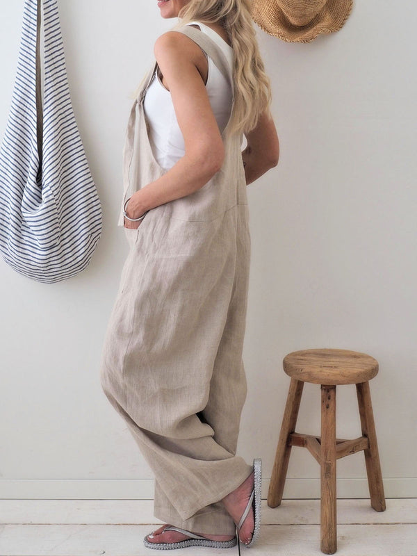 Retro Casual Loose Cotton Linen Wide Leg Jumpsuit