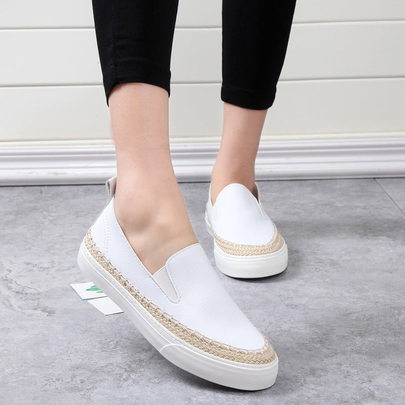 White Round Toe Platform Women's Loafers