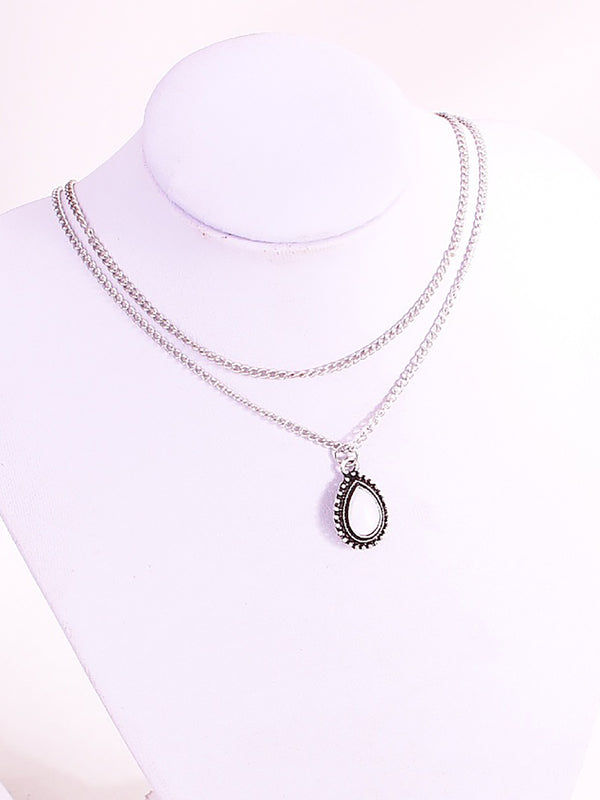Womens Alloy Round Drop Necklaces