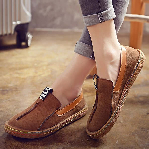 Letter Suede Slip-On Women's Loafers