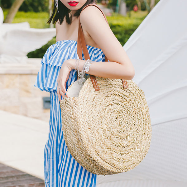 Women's Woven Straw Casual Large Capacity Beach Shoulder Bags