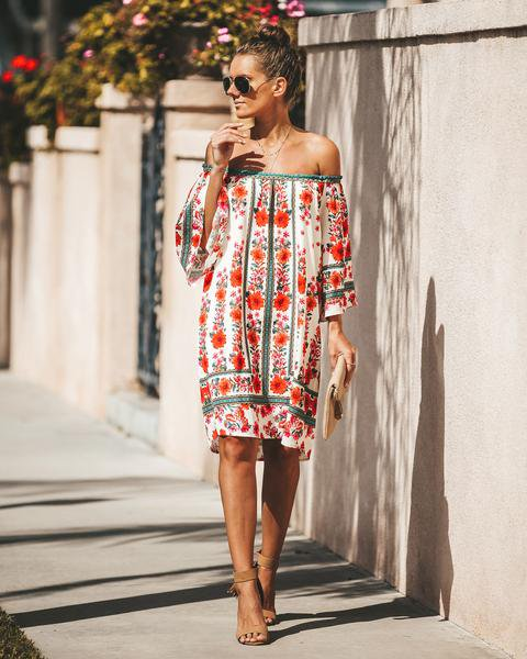 Red Floral 3/4 Sleeve Dresses