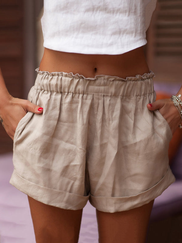 Summer Shorts Pockets Elastic-waist Casual Shorts
