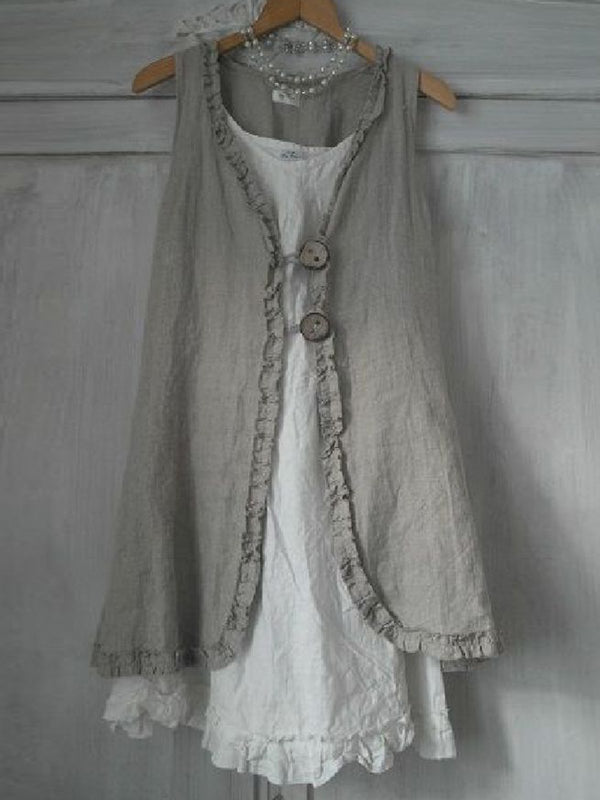 Buttoned Ruffled Sleeveless Linen Solid Shirts & Tops