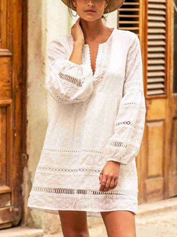 White Balloon Sleeve Solid V Neck Dresses