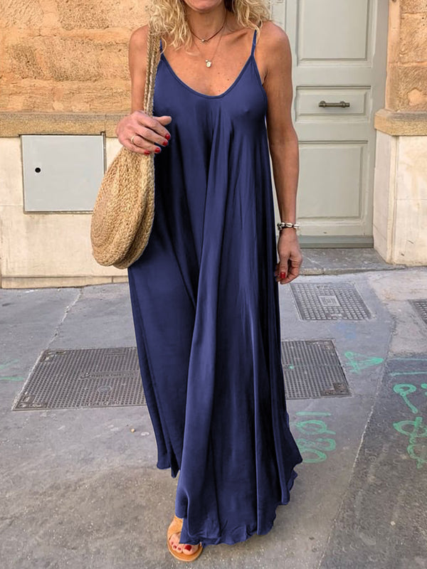 Women Summer Solid Spaghetti-Strap Maxi Dresses V Neck Daily Dresses