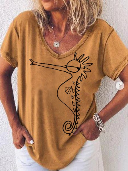 Cotton-Blend Casual Animal Round Neck Seahorse Shirts & Tops