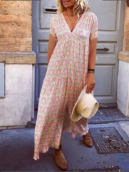 Women Floral Summer Plus Size V Neck Vintage Maxi Dresses