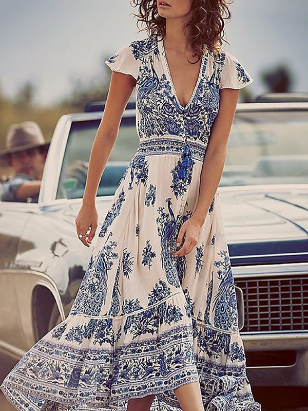 Blue Women Floral Dresses Swing Daytime Floral Dresses