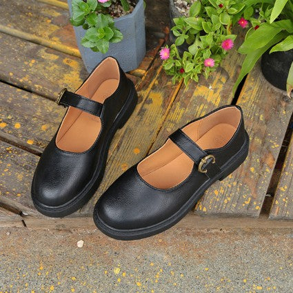 Mary Jane Spring/Fall PU Daily Adjustable Buckle Retro Flats