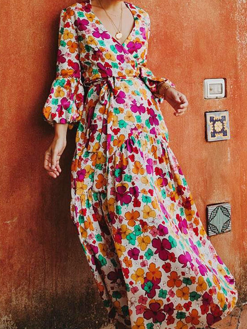 Multicolor Sweet Vacation Paneled V-neck Balloon Sleeved Floral  Maxi Dress