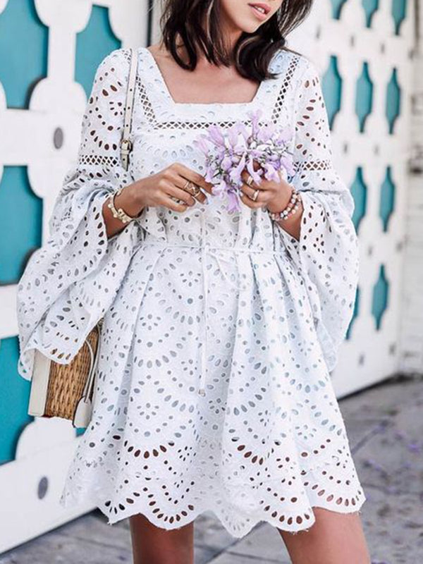 White Eyelet Solid Square Neck Long Sleeve Dresses