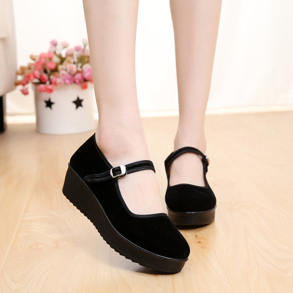 Waterproof Buckle Strap Cloth Platform Wedges