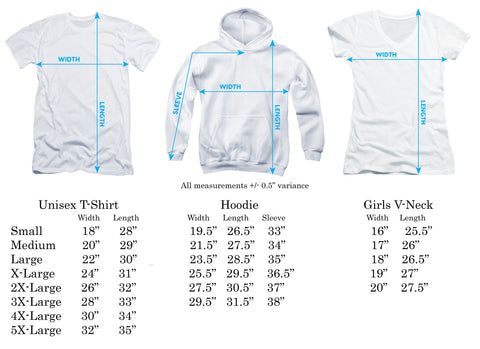 Size Chart for Lady Cat T-Shirt