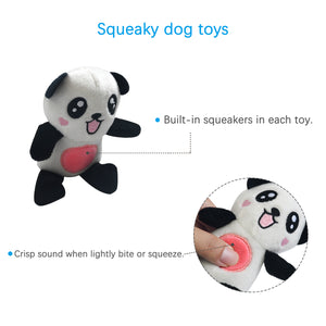 Stuffless Dog Toy for Puppy, Crinkle Dog Toy Flat Squeaky Plush Toys with Tug Rope Knots, Hunting Fetching Dog Chew Toy for Small Medium Dogs