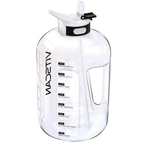 VITSCAN 128OZ/1 Gallon Water Bottle with Straw Motivational Water Bottle with Time Marker, Large Water Bottle 128 Oz Water Bottle, Big Water Jug for Sports Water Bottles, Two Handles BPA Free (white) - VITSCAN
