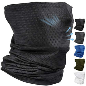 VITSCAN Comfortable Cooling Neck Gaiter Face Scarf Mask Covering Balaclava for Men Summer Sun Dust Protection Running Fishing Breathable Gator Neck Mask Headband Bandana Face Cover Black - VITSCAN