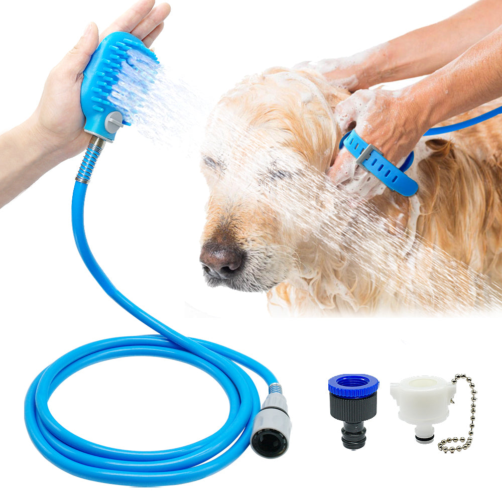 Hygienic Dog Bath Shower Brush w/Garden Hose Connection
