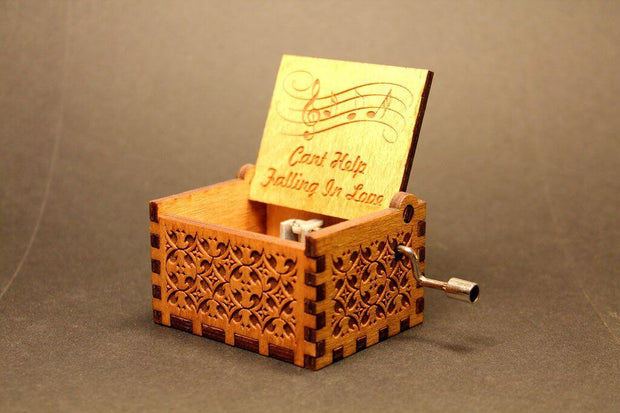 Engraved wooden music box Cant Help Falling In Love