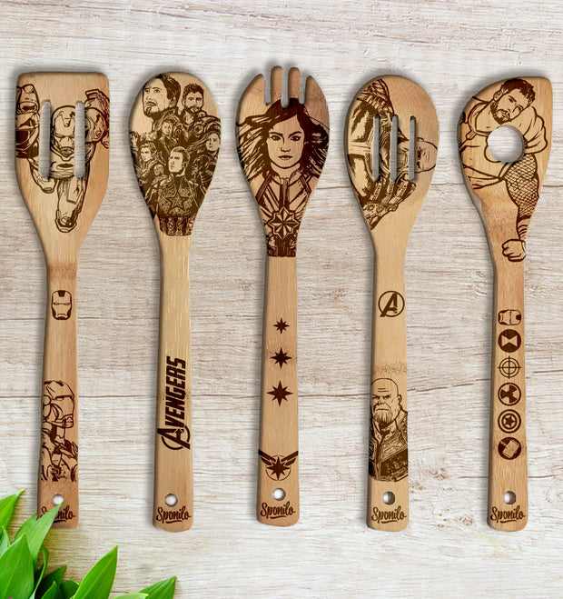 AVENGERS Wood-burned Spoons Set