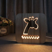 Giraffe Wood Lamp - Sponilo