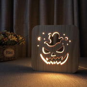 Jack-O'-Lantern Ghost Wood Lamp - Sponilo