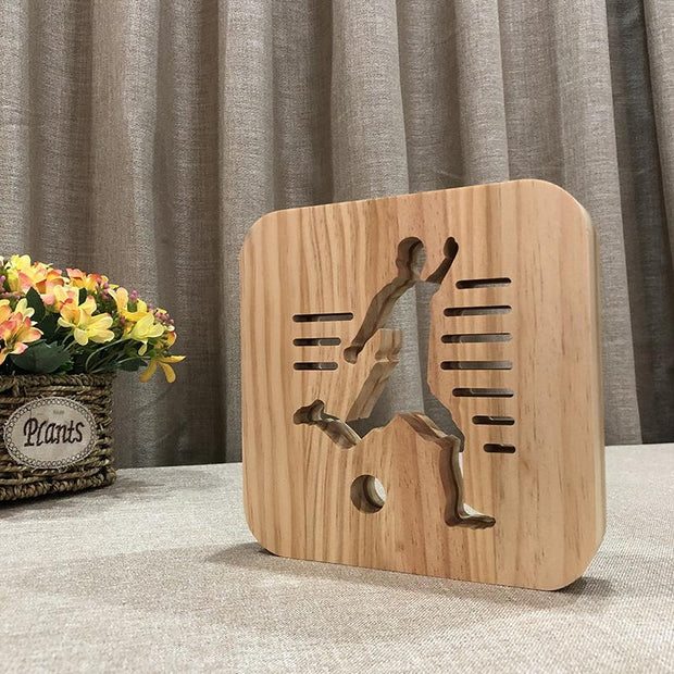 Soccer Football Player Wood Lamp - Sponilo