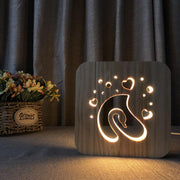 Swan Hearts Wood Lamp - Sponilo