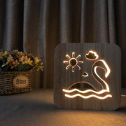 Flamingo Wood Lamp - Sponilo