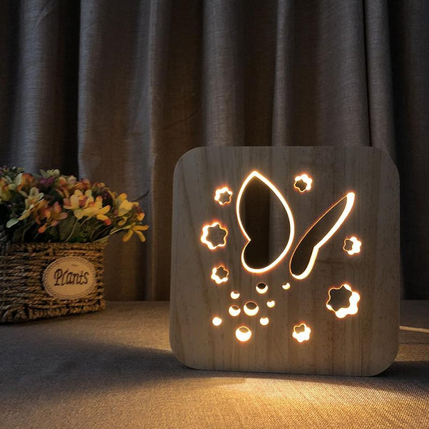 Butterfly Wood Lamp - Sponilo
