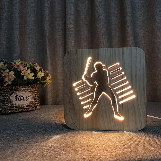 Baseball Player Wood Lamp - Sponilo