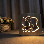 Couple in Love Kiss Wood Lamp - Sponilo