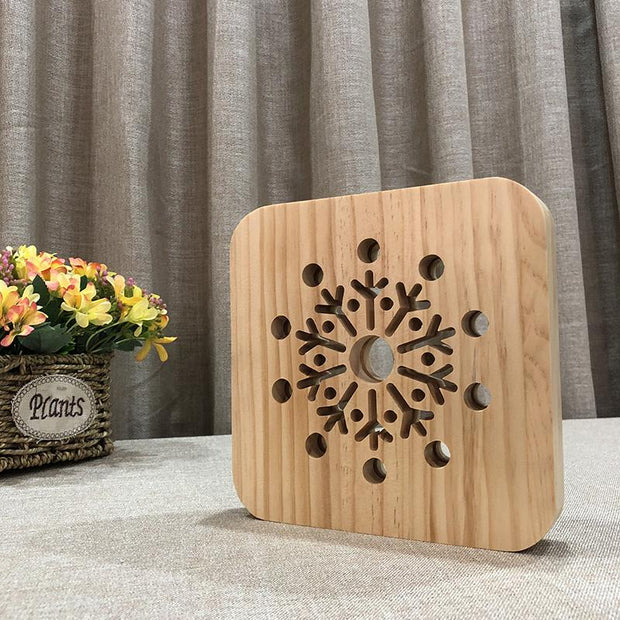 Snowflake Wood Lamp - Sponilo