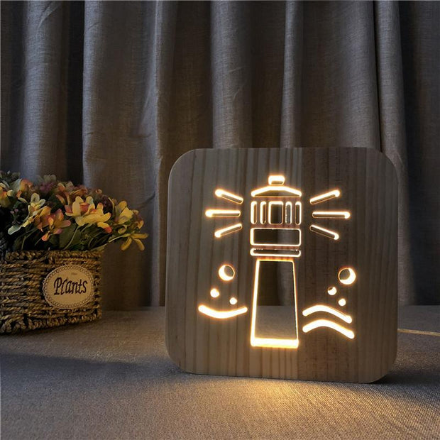 Light House Wood Lamp - Sponilo