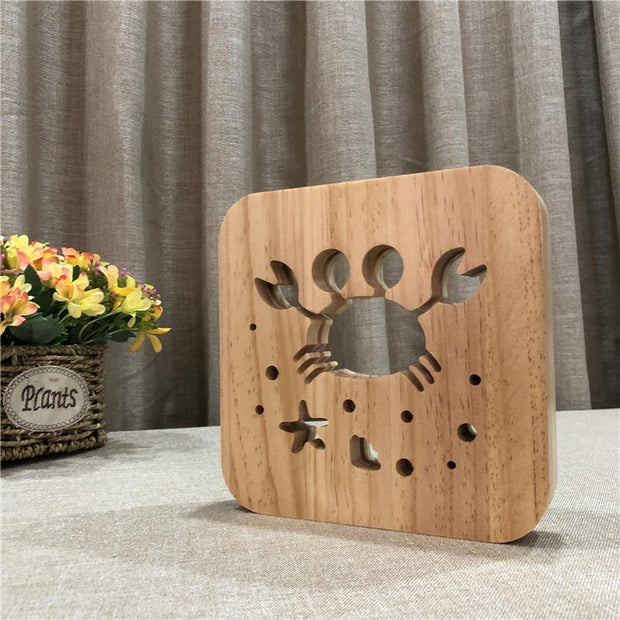 Cartoon Crab Wood Lamp - Sponilo