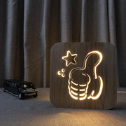 Thumbs up Wood Lamp - Sponilo