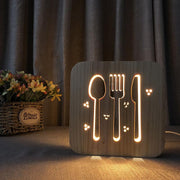 Kitchen Cutlery Wood Lamp - Sponilo