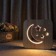 Moon Stars Wood Lamp - Sponilo