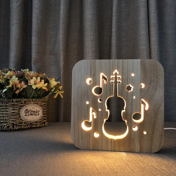 Classical Guitar Wood Lamp - Sponilo