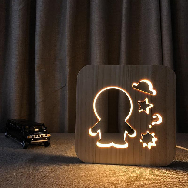 Astronaut Wood Lamp - Sponilo