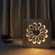 Flower Heart Wood Lamp - Sponilo