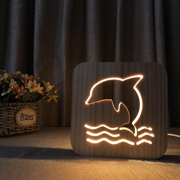 Jumping Dolphin Wood Lamp - Sponilo