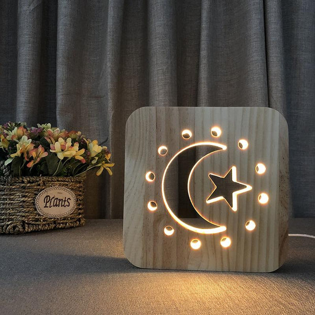Moon Crescent & Stars Wood Lamp - Sponilo