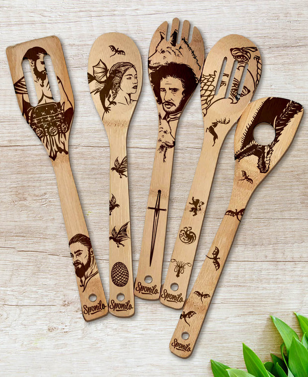 Game Of Thrones Wood-burned Spoons Set - Sponilo