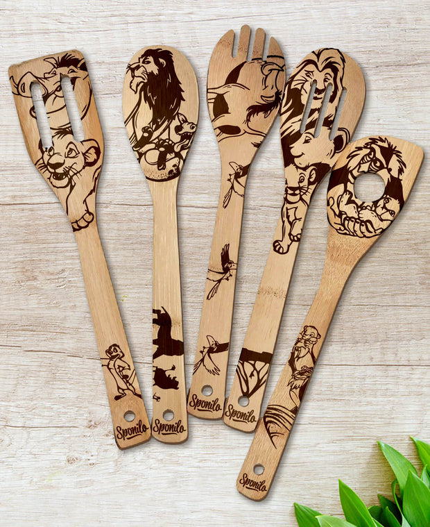 The Lion King Wood-burned Spoons Set - Sponilo