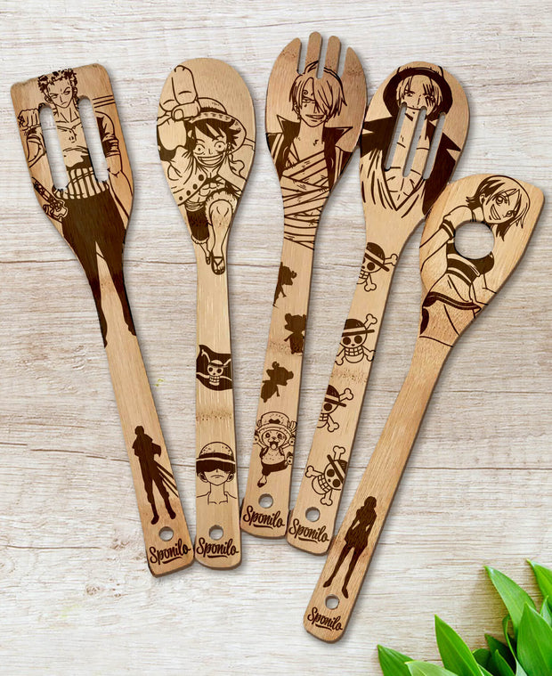 One Piece Wood-burned Spoons Set - Sponilo
