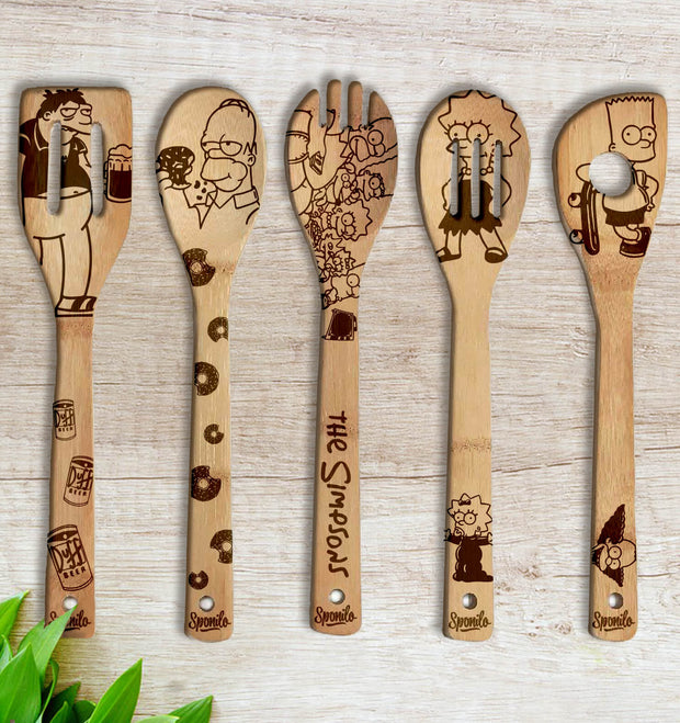 The Simpsons Wood-burned Spoons Set